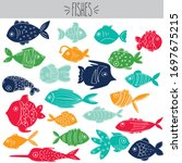 freehand colored tropical fish... | Shutterstock .eps vector #1697675215