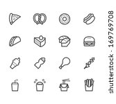 fast food black icon set on... | Shutterstock .eps vector #169769708