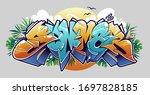 summer graffiti lettering... | Shutterstock .eps vector #1697828185