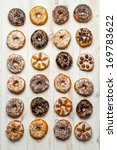Large group of different donuts - stock photo