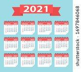 2021 year calendar leaves flat... | Shutterstock .eps vector #1697846068