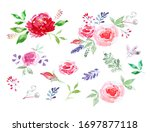 watercolor floral set. colorful ... | Shutterstock . vector #1697877118