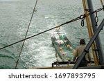 Fishermen At Work. Sailors Pul...