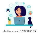 home office during coronavirus... | Shutterstock .eps vector #1697909155