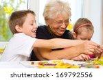 grandmother with grandchildren... | Shutterstock . vector #169792556