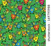 multicolor peacocks seamless... | Shutterstock . vector #169795988