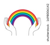 hands hold a rainbow for hope... | Shutterstock .eps vector #1698006142