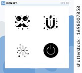set of 4 vector solid glyphs on ...
