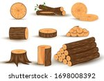 Wood material and manufactured products set with tree trunk branches planks. Vector isolated set