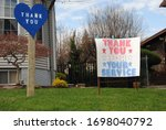 Small photo of Rutherford, New Jersey / USA - April 07 2020: Amid the novel coronavirus (COVID-19), the Rutherford Arts Committee asks residents to post blue hearts and encouraging messages for first responders.