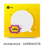 mega sale badge. yellow banner... | Shutterstock .eps vector #1698044278