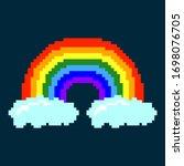 beautiful pixel rainbow with...