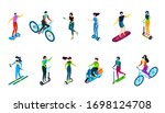 isometric people riding bike ... | Shutterstock .eps vector #1698124708