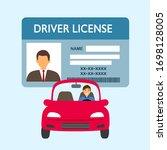 a man driving car. driver... | Shutterstock .eps vector #1698128005
