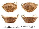 Brown wicker basket isolated over white background, set of four foreshortenings - stock photo