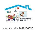 distance learning online...   Shutterstock .eps vector #1698184858