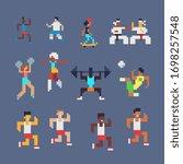 8bit sport  different sports ... | Shutterstock .eps vector #1698257548