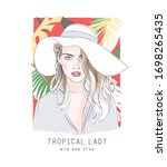 tropical girl slogan with hand... | Shutterstock .eps vector #1698265435