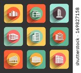 buildings flat design icon set. ... | Shutterstock .eps vector #169827158