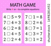 math game. write   or   in... | Shutterstock .eps vector #1698281452