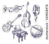 music instruments drawings set | Shutterstock .eps vector #169828478