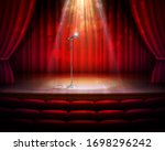 Stage With Red Curtains ...