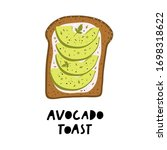 avocado toast. fresh toasted... | Shutterstock .eps vector #1698318622