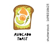 avocado toast. fresh toasted... | Shutterstock .eps vector #1698318625