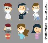 set people wearing mask to... | Shutterstock .eps vector #1698357352