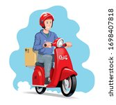 delivery man riding a red... | Shutterstock .eps vector #1698407818