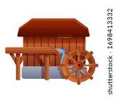 Wood Water Mill Icon. Cartoon...