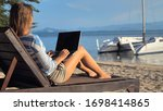 young woman using laptop... | Shutterstock . vector #1698414865