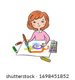 little girl draws and paints ... | Shutterstock .eps vector #1698451852