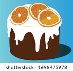 easter cake. orange. vector... | Shutterstock .eps vector #1698475978