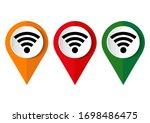 map pin wi fi icon. vector... | Shutterstock .eps vector #1698486475