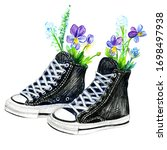 black teenager sneakers with... | Shutterstock . vector #1698497938