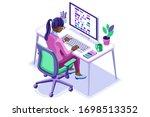 trendy homes studio at girl... | Shutterstock .eps vector #1698513352