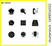 modern set of 9 solid glyphs...