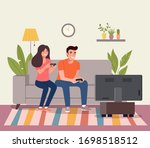 young woman and man playing...   Shutterstock .eps vector #1698518512