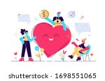 volunteering. stylized and... | Shutterstock .eps vector #1698551065