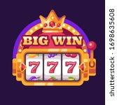 777 slot machine big win.... | Shutterstock .eps vector #1698635608