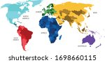 world map divided into six... | Shutterstock .eps vector #1698660115