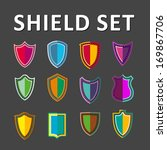 vector colorful shields | Shutterstock .eps vector #169867706