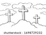 easter three crosses vector... | Shutterstock .eps vector #1698729232