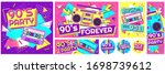 retro 90s music party poster....   Shutterstock .eps vector #1698739612