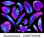neon tropical leaves. color... | Shutterstock .eps vector #1698739648