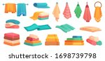 fabric bath towels. colorful... | Shutterstock .eps vector #1698739798
