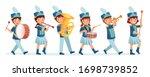 cartoon kids marching band... | Shutterstock .eps vector #1698739852