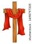 Wooden Christian Cross With Red ...