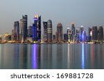 Stock photo doha downtown skyline at night qatar middle east 169881728